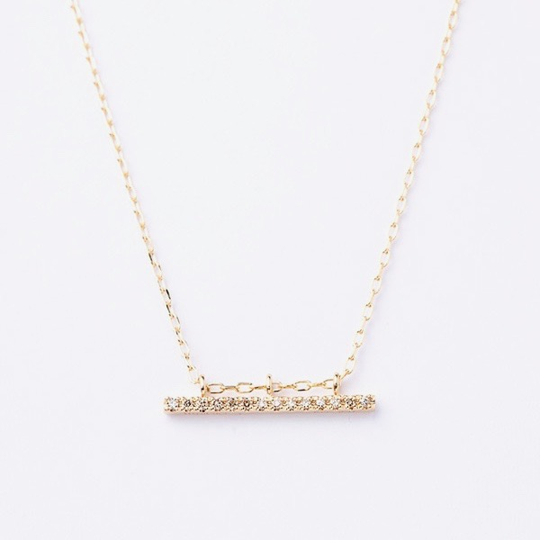 Gossamer Diamond Short Bar Necklace