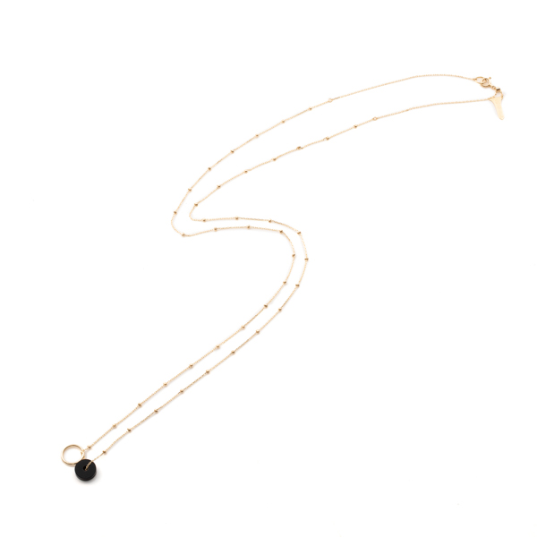 Orbital Onyx Stud Chain Necklace AB60KCN onyx スタッドチェーン