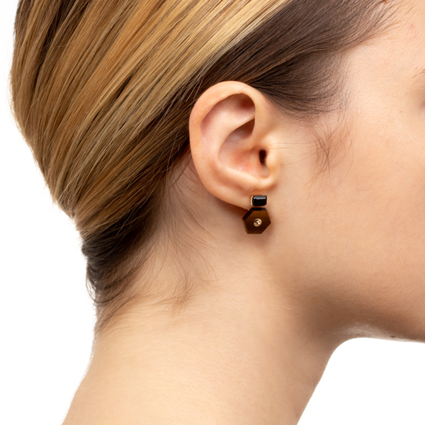 Orbital Onyx Earring with Tiger's Eye Backing CS36KCE / CT21GCC  ピアス 片耳 オニキス タイガーアイ オービタル 天然石