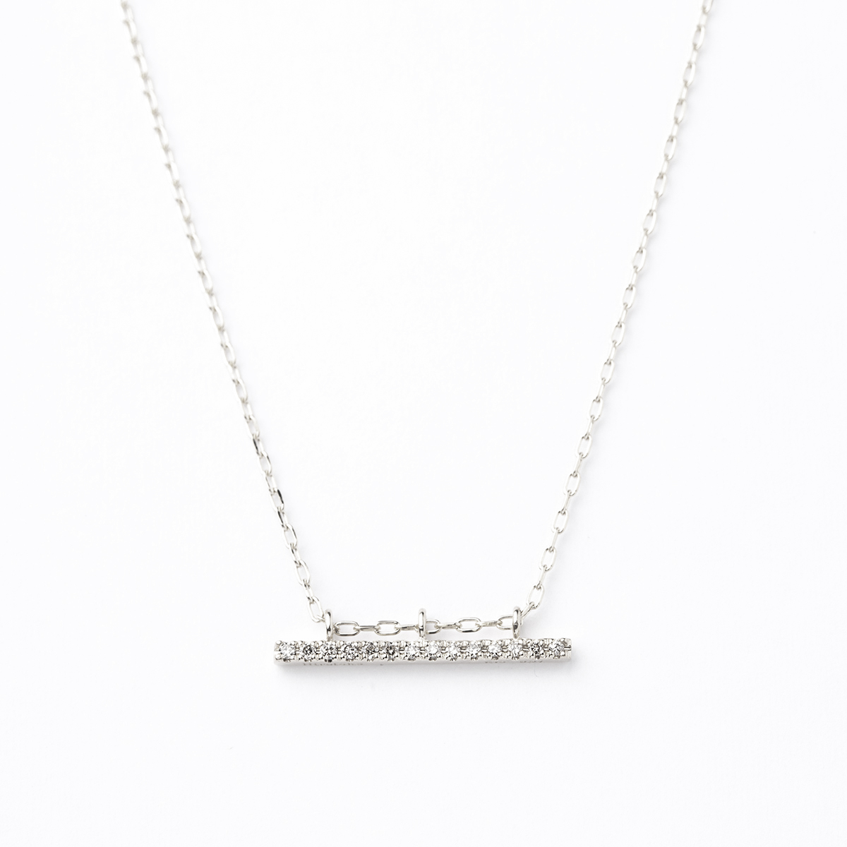 Gossamer Diamond Short Bar Necklace (WhiteGold)