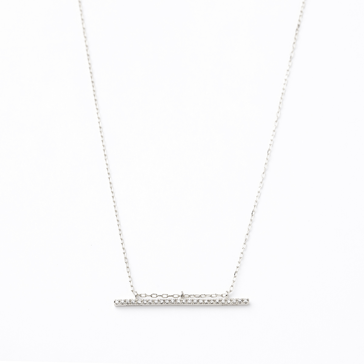 Gossamer Diamond Long Bar Necklace (WhiteGold)