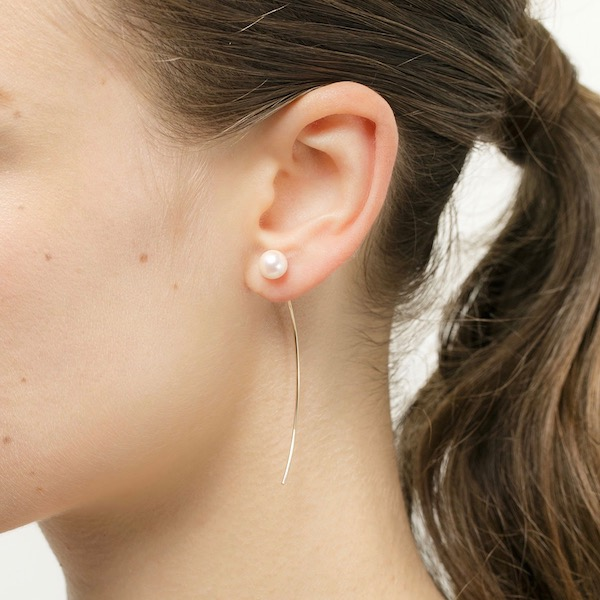 Arrow Earring Collection with 'L Size' Akoya Pearl PE10KPE イヤリング ピアス パール