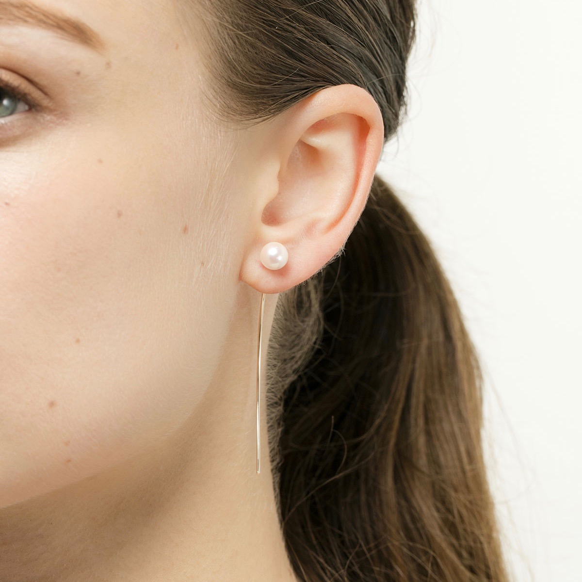Arrow Earring Collection with 'L Size' Akoya Pearl PE10KPE イヤリング ピアス パール アロー アコヤパール 片耳