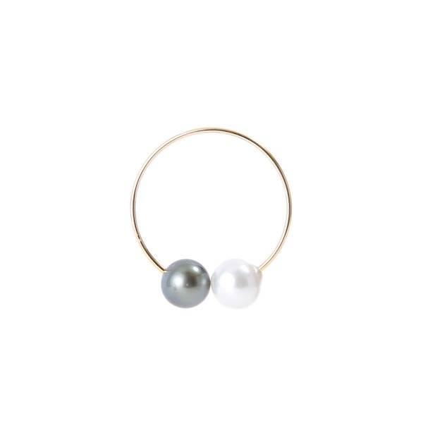 Oversized  Ear Hoop with Tahitian Pearl & South Sea White Pearl PE13KPE イヤーカフ タヒチパール 南洋パール オーバーフープ K10
