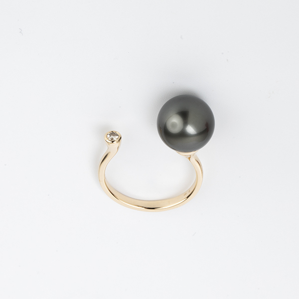 Pearl Diamond Cuff Ring (TahitianBlackPearl)