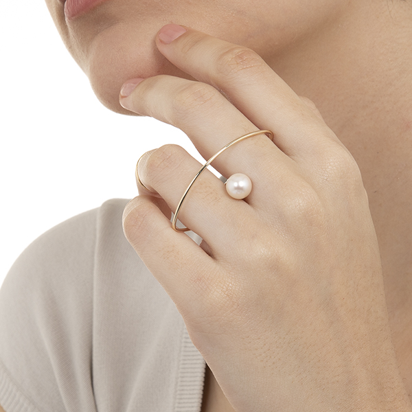 Double Finger Ring w Pearl PE01KPR パール リング 指輪
