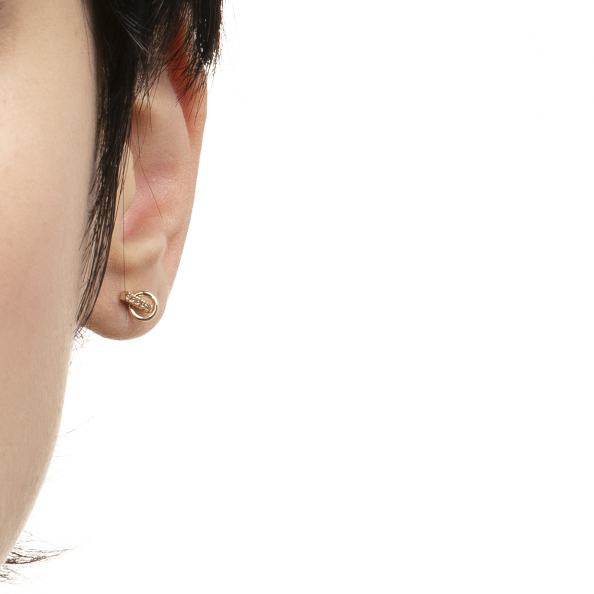 Deco Small Diamond Earring With Small Hoop GS13KDE ピアス ダイヤモンド 片耳 K10
