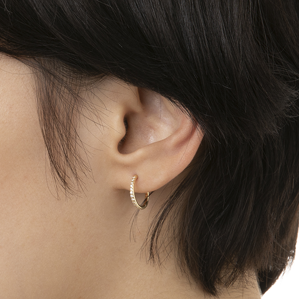 【NEW】Diamond Hoop Earring(YellowGold) MH13GDEB 18K イヤリング ピアス ダイヤモンド
