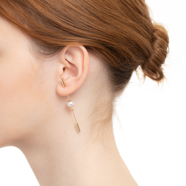 Spear Earring with Akoya Pearl IN66KME / CT18GPC  パール 丸玉 インダストリア K10 K18 槍 片耳 ピアス