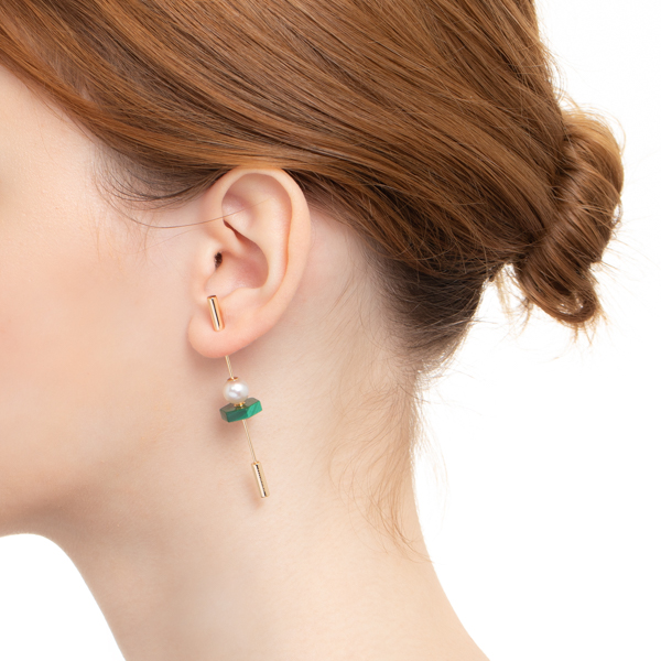 Spear Earring with Akoya Pearl & Malachite IN75KME / CT24GCC / CT18GPC インダストリア ピアス マラカイトK10