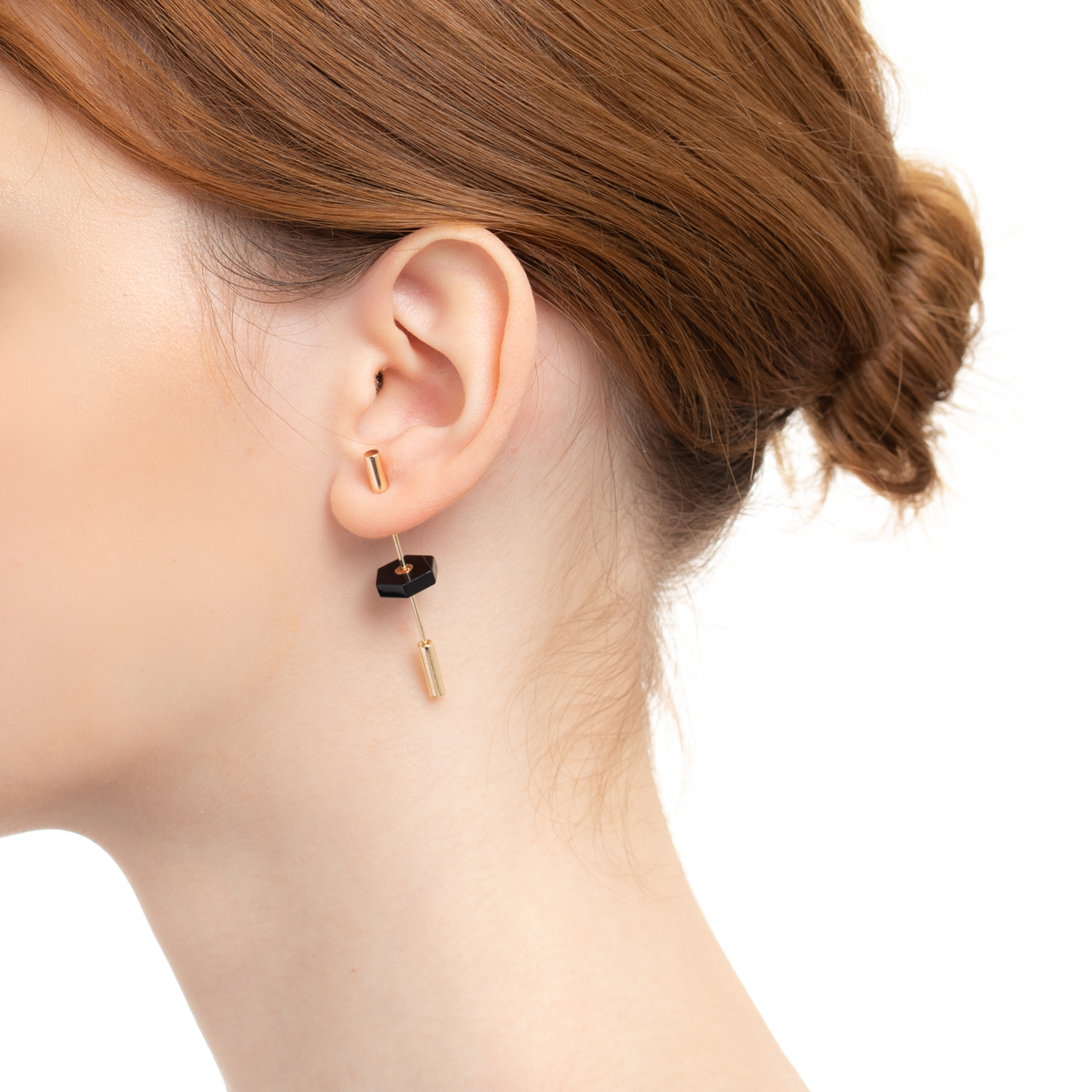 【NEW】Short Spear Earring with Onyx IN76KME / CT20GCC new 新作 天然石 ショートスピアイヤリング K10 K18 インダストリア