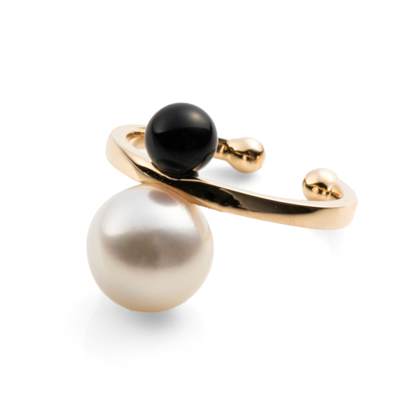 Double Pearl Ear Cuff with Akoya & Onyx PE18KPF イヤーカフ パール オニキス ギフト ホワイトデー プレゼント アコヤ アコヤパール