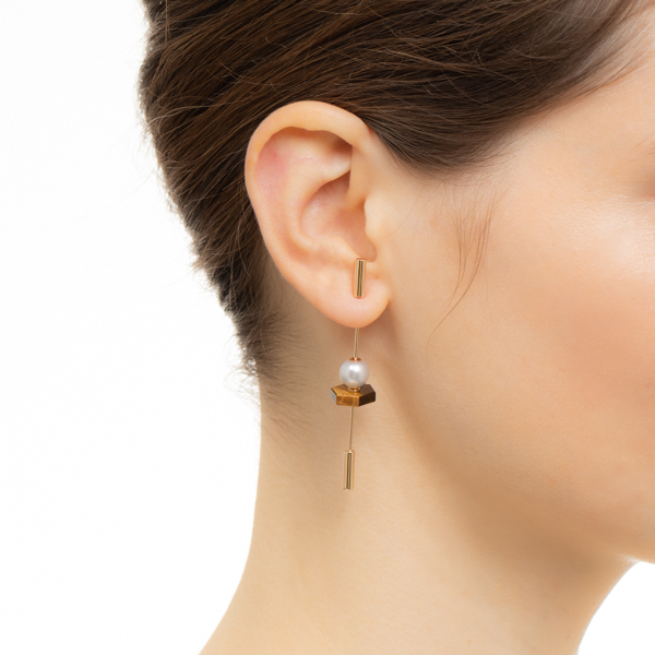 【NEW】Spear Earring with Akoya Pearl & Tiger's eye IN75KME / CT21GCC / CT18GPC スピア 片耳 タイガーアイ K10 天然石 新作 akoya アコヤ パール