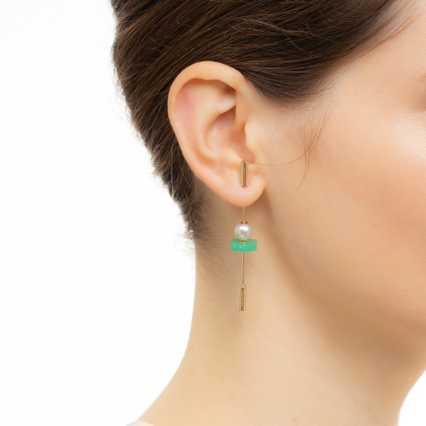 【NEW】Spear Earring with Akoya Pearl & Chrysoprase IN75KME / CT25GCC / CT18GPC スピア 新作 K10  天然石 akoya パール 片耳 クリソプレーズ