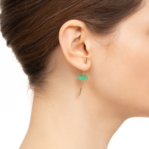 【NEW】Short Spear Earring with Chrysoprase IN76KME / CT25GCC new 新作 ピアス クリソプレーズ 天然石 K18 K10 ショートスピアイヤリング インダストリア