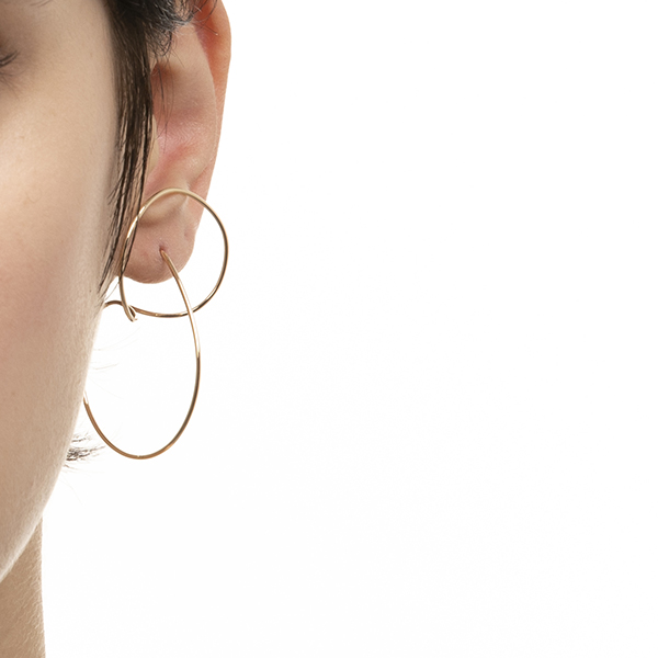 Floating Hoop Earring M size AB15KMEM フローティングフープ K10 ギフト