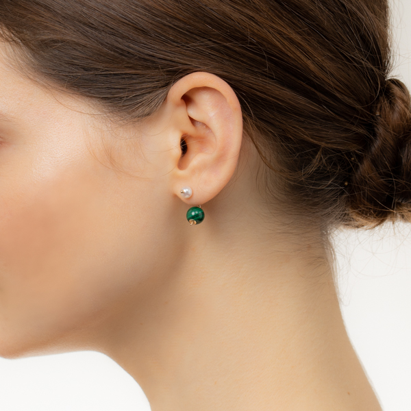 【NEW】Bumble Bee Pearl Earring with Malachite Backing PE54KPE / CT28GCC NEW Bumblebee バンブルビー アコヤ パールキャッチ マラカイト