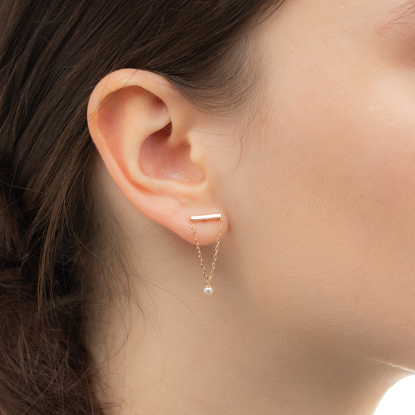 Akoya Pearl Chain Earring PE43KPE  パール ピアス チェーンピアス K10 アコヤ アコヤパール ギフト