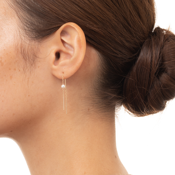 【NEW】Toggle Pearl Chain Earring AB49KPE new K10 アコヤパール チェーンピアス ギフト