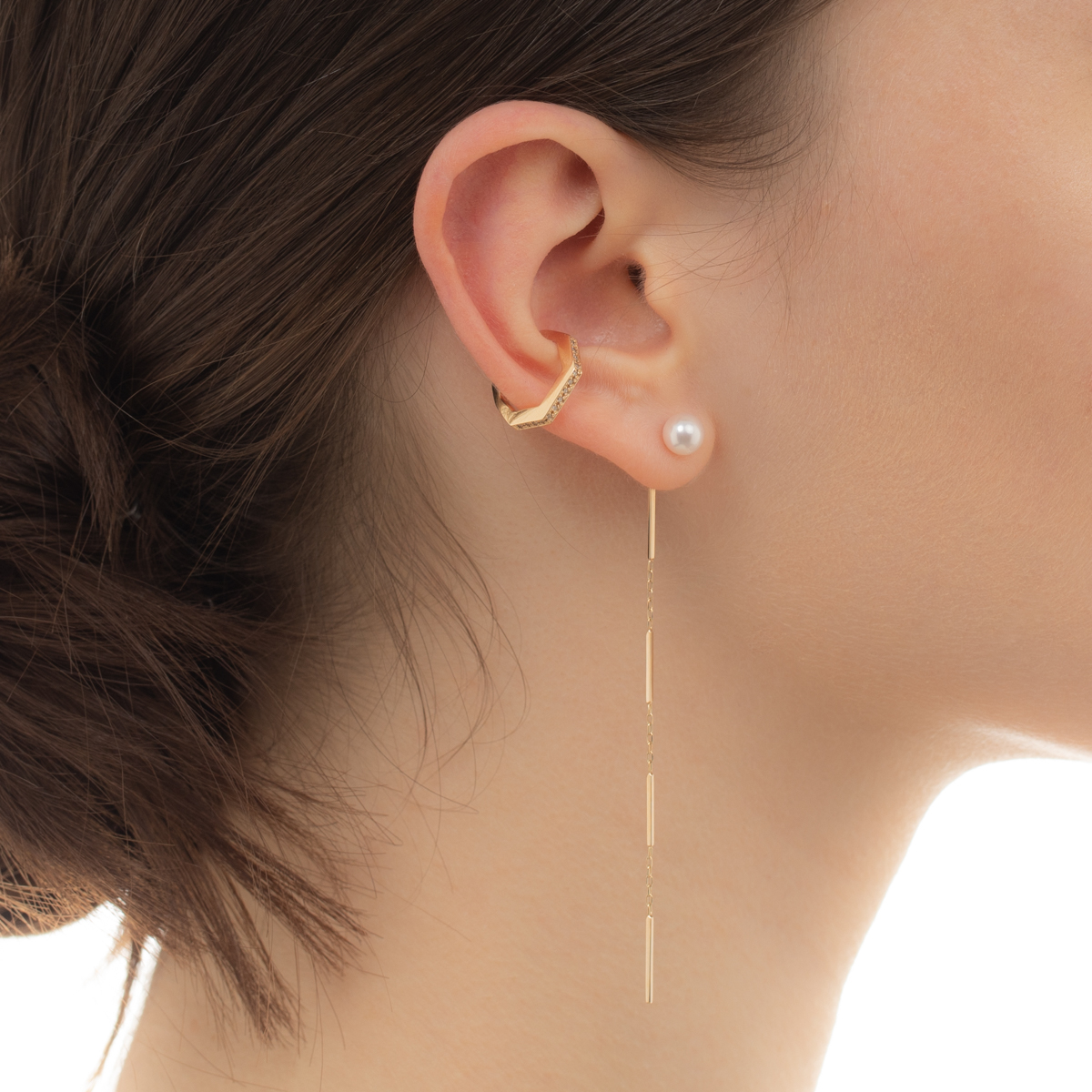 Pearl Chain Earring PE25KPE ピアス パール チェーンピアス 片耳 アコヤ アコヤパール
